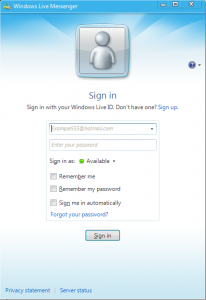 Windows Live Messenger MSN Sign In